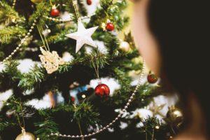 Christmas tree ornaments on a tree