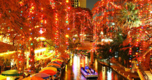 San Antonio river walk during Christmas