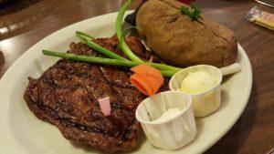 classic steak dinner at sammys restaurant in castroville