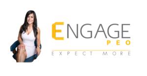 Blanca Abbud sitting next to Engage PEO logo