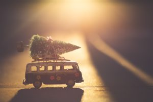 toy bus with tree on top