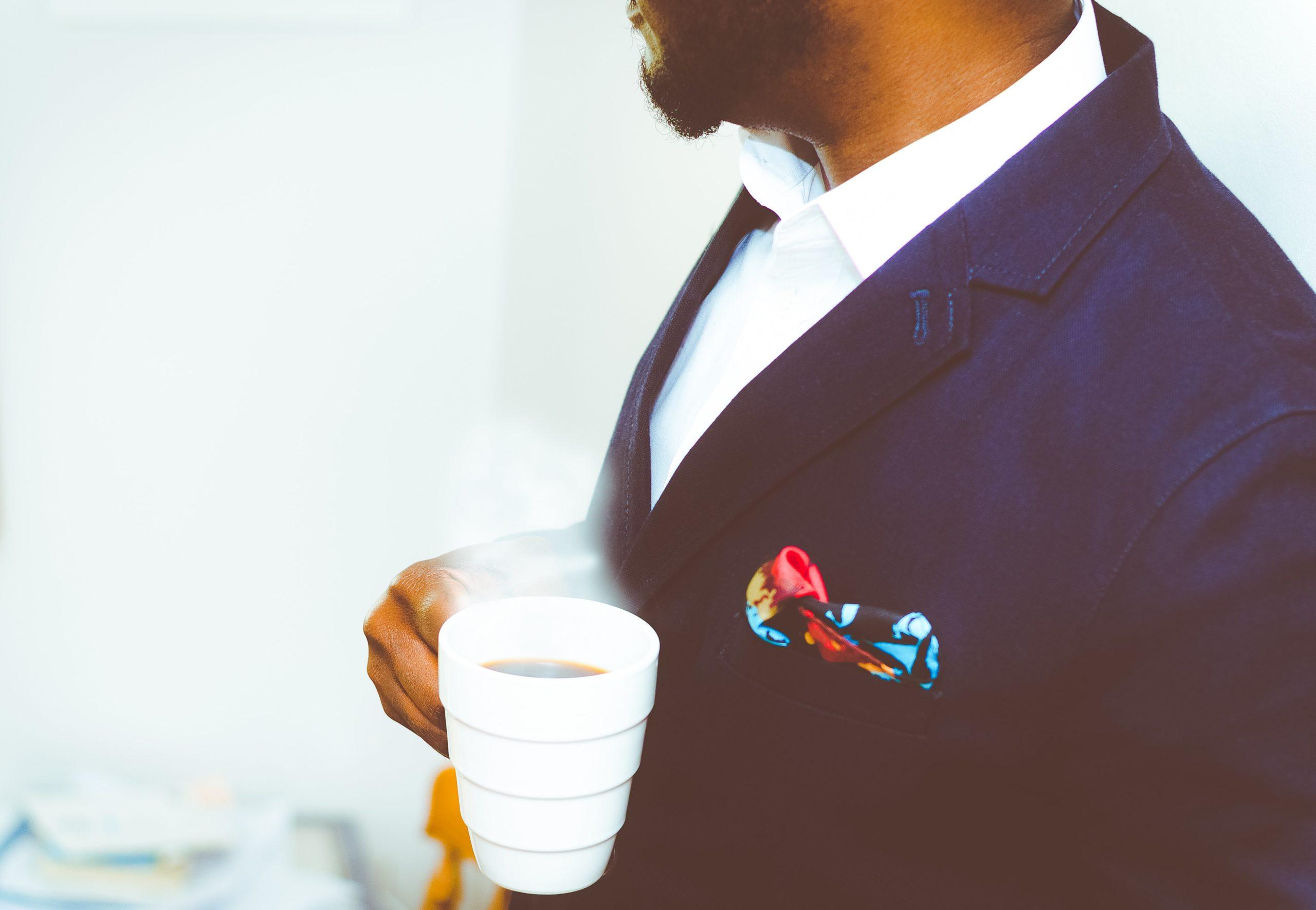 business professional enjoying coffee
